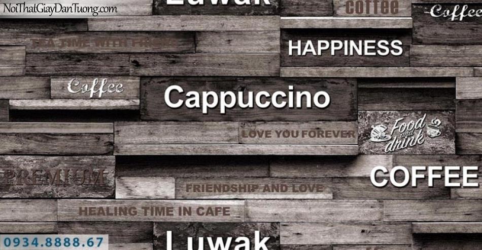 Giấy dán tường AURORA, Giấy dán tường giả gỗ màu xám, màu nâu, màu đen, sử dụng cho quán cà phê, từng thanh gỗ ghép, miếng gỗ 4209-