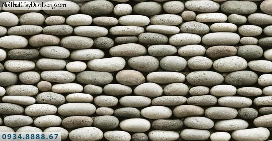Giấy dán tường AURORA, Giấy dán tường hình viên đá nhỏ, viên sỏi xếp chồng lên nhau, bức tường đá 3D 4217-2