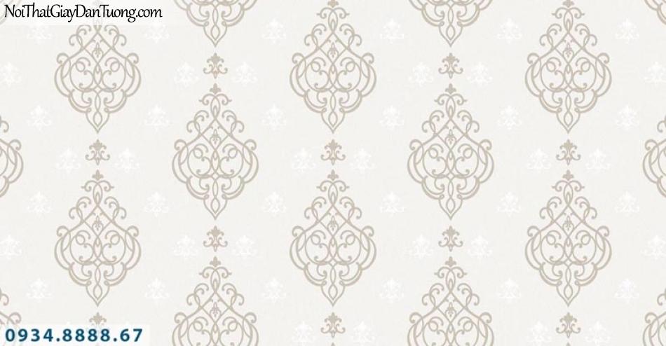 Giấy dán tường AURORA, Giấy dán tường họa tiết cổ điển đẹp, nền màu kem hoa văn nâu xám 4211-1