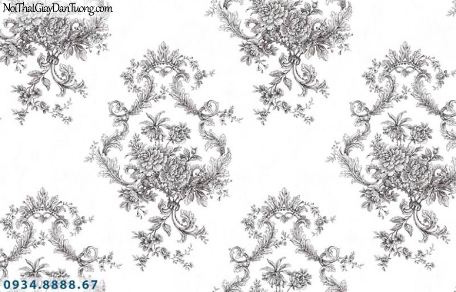 Giấy dán tường AURORA, Giấy dán tường hoa văn họa tiết cổ điển Châu Âu màu xám 4216-2