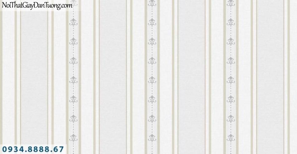 Giấy dán tường AURORA, Giấy dán tường sọc bản to bản nhỏ, giấy sọc màu kem nhẹ nhàng 4212-1