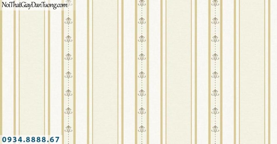 Giấy dán tường AURORA, Giấy dán tường sọc màu vàng, giấy kẻ to kẻ nhỏ sọc đứng 4212-2