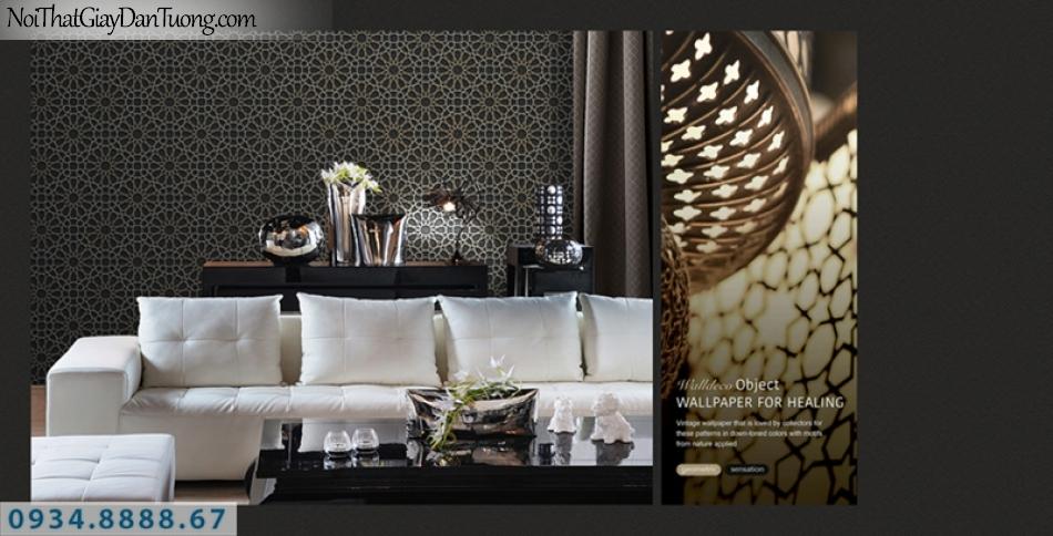 Giấy dán tường PIEDRA, giấy dán tường 3D màu đen, nền màu đen họa tiết bánh xe màu vàng 3D 22-036