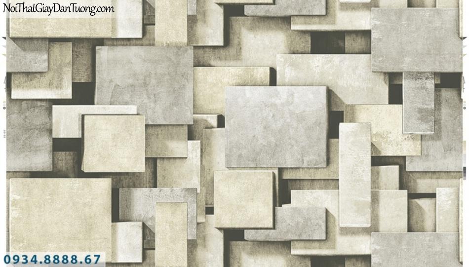 Giấy dán tường PIEDRA, giấy dán tường 3D màu vàng nhạt, màu vàng kem, những miếng gỗ, sắt, đá 3d 22-025