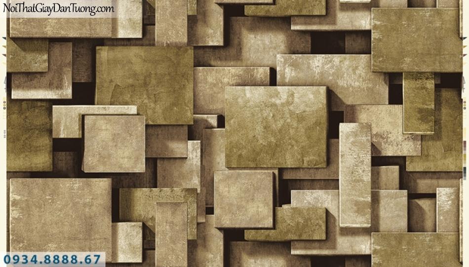 Giấy dán tường PIEDRA, giấy dán tường 3D màu vàng, những miếng vuông màu vàng tạo bóng 3d 22-023