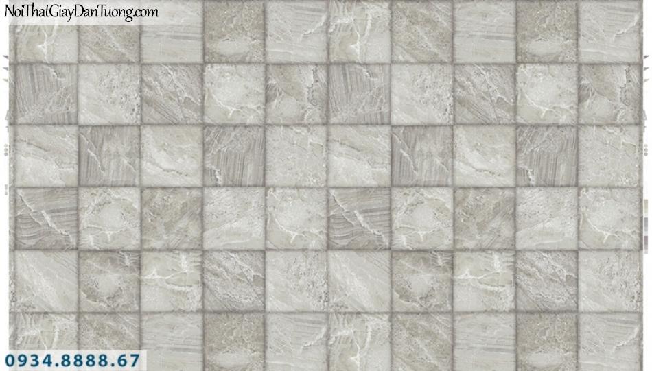 Giấy dán tường PIEDRA, giấy dán tường 3D màu xám, xám bạc, những hình ô vuông nhỏ tạo bóng 3D 22-044