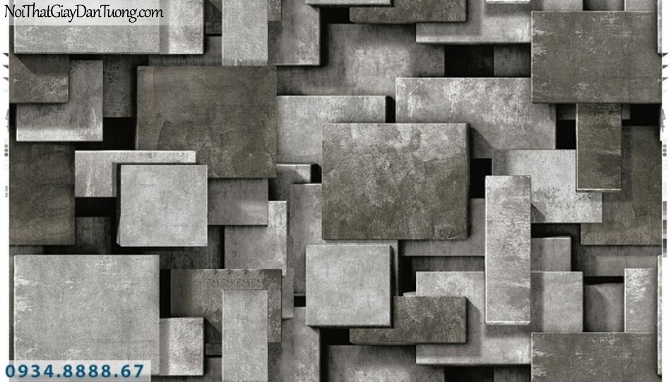 Giấy dán tường PIEDRA, giấy dán tường 3D màu xám, xám bạc, xám đen, những miếng ô vuông tạo bóng 22-024