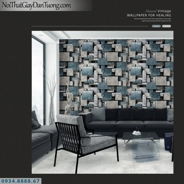 Giấy dán tường PIEDRA, giấy dán tường 3D màu xám, xám xanh, những ô vuông xanh xám 22-026