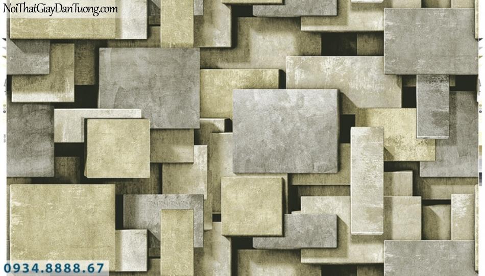 Giấy dán tường PIEDRA, giấy dán tường 3D, miếng vuông 3D, giả đá, giả sắt màu vàng, màu xám 22-021