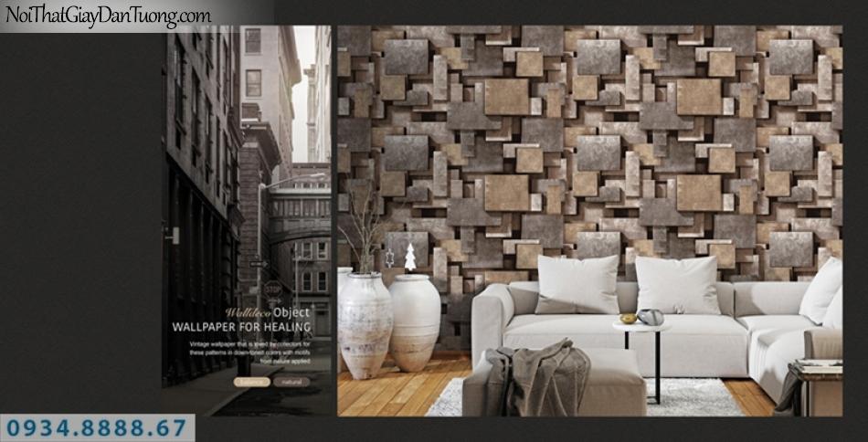 Giấy dán tường PIEDRA, giấy dán tường 3D, những miếng đá, miếng sắt màu nâu, nẫu sẫm, đỏ sẫm 22-022