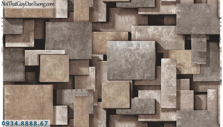 Giấy dán tường PIEDRA, giấy dán tường 3D, những miếng gỗ, miếng sắt, miếng đá tạo bóng hình 3D, màu nâu cam, nâu vàng, nâu đỏ, đỏ thẫm 22-022