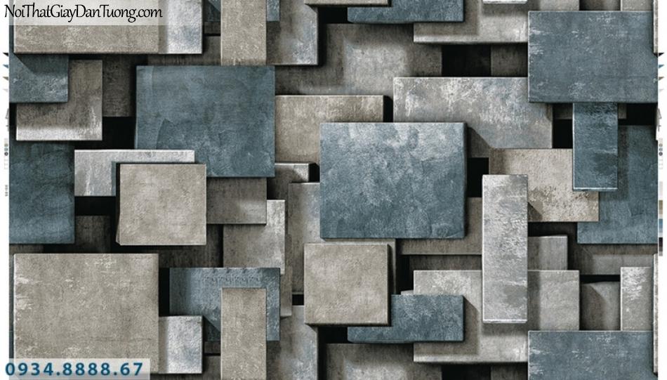 Giấy dán tường PIEDRA, giấy dán tường 3D, những miếng vuông màu xám xanh tạo bóng, màu xanh xám 3D 22-026