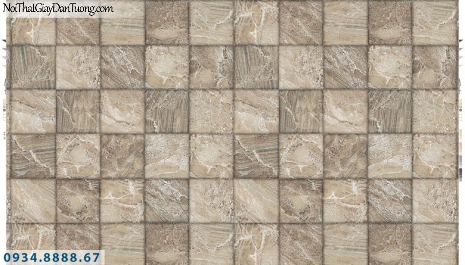 Giấy dán tường PIEDRA, giấy dán tường 3D, ô vuông giả đá, giả gỗ màu vàng kem, vàng nhạt 22-042