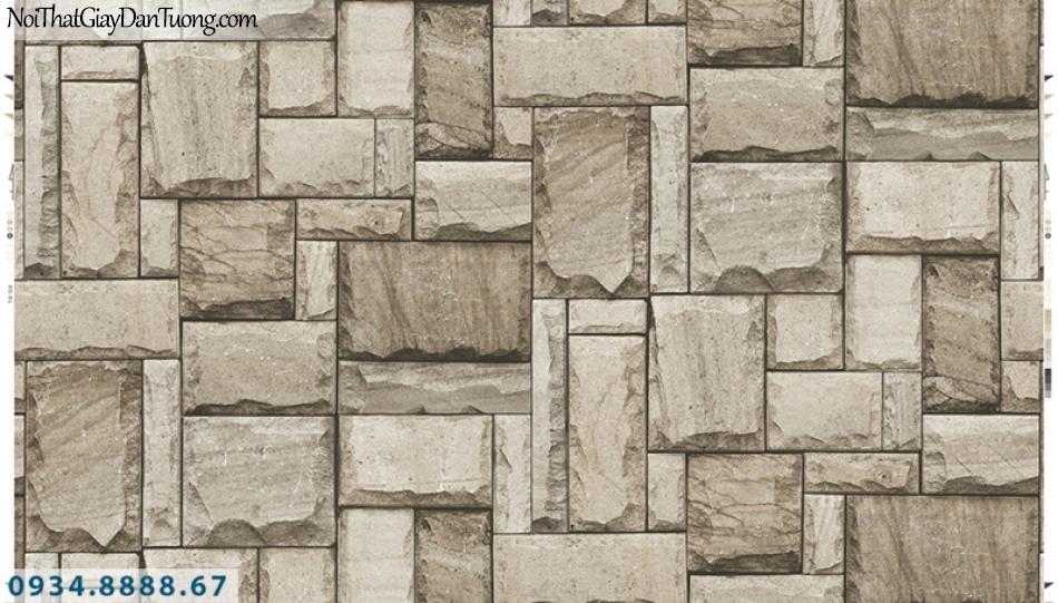 Giấy dán tường PIEDRA, giấy dán tường giả đá 3D, giả đá màu vàng nhạt, vàng kem, đá ghép miếng 22-015
