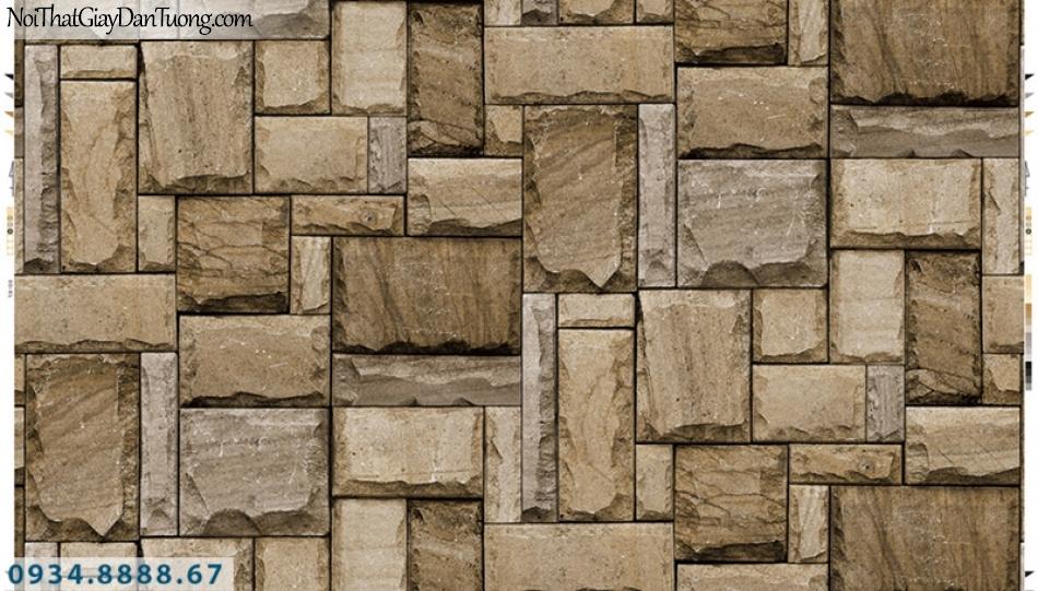 Giấy dán tường PIEDRA, giấy dán tường giả đá 3D màu vàng, hòn đá, viên đá miếng vuông ghép so le 22-014
