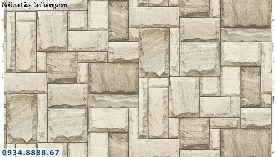 Giấy dán tường PIEDRA, giấy dán tường giả đá 3D màu vàng kem, viên đá miếng ghép 22-012