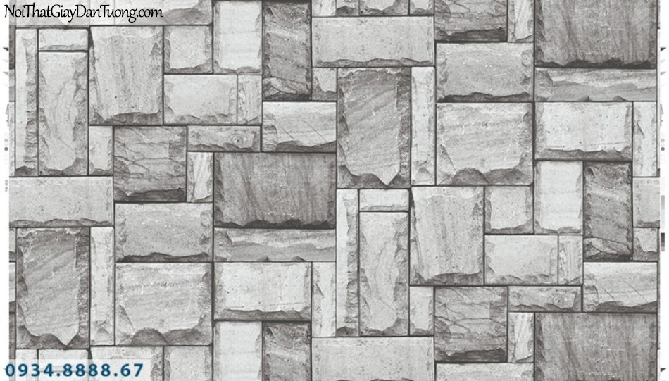 Giấy dán tường PIEDRA, giấy dán tường giá đá 3D màu xám, đá miếng vuông ghép lại với nhau 22-013
