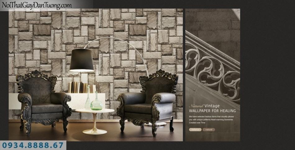 Giấy dán tường PIEDRA, giấy dán tường giả đá 3D màu xám, đá miếng vuông sắp xếp so le 22-015