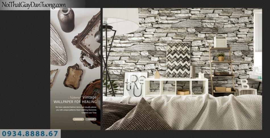 Giấy dán tường PIEDRA, giấy dán tường giả đá 3D, những viên đã to nhỏ 3D xếp thành bức tường đá 3D 22-051