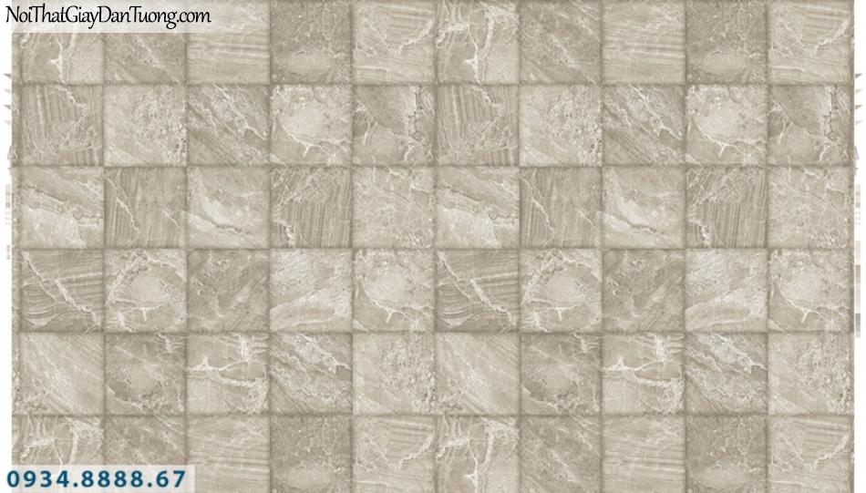 Giấy dán tường PIEDRA, giấy dán tường giả đá, giả gỗ miếng vuông 3D màu vàng kem 22-043