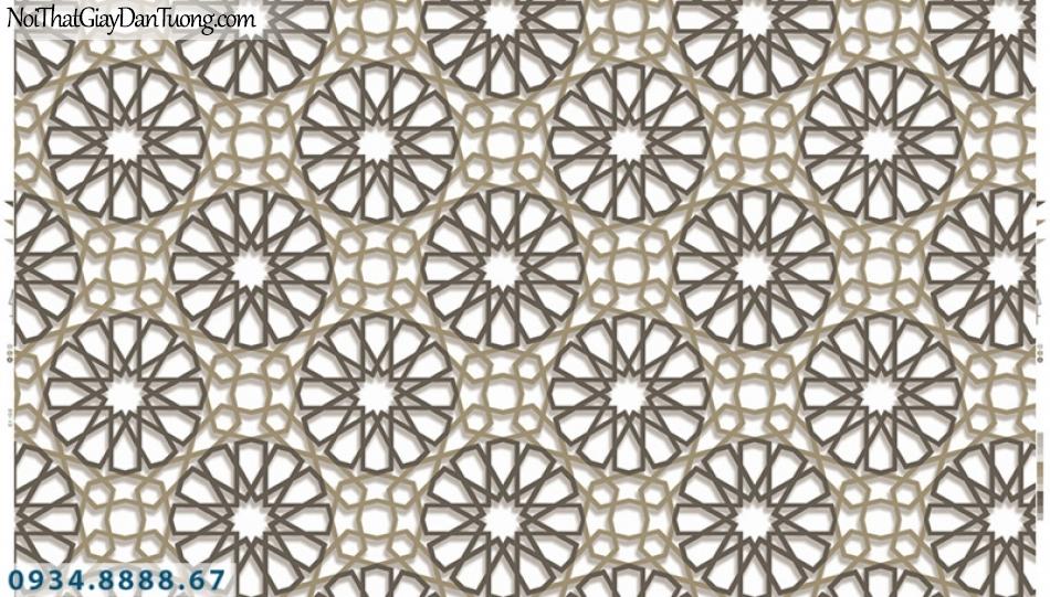 Giấy dán tường PIEDRA, giấy dán tường hoa văn họa tiết 3D hình bánh xe màu đen, dây xích màu vàng 3D 22-034
