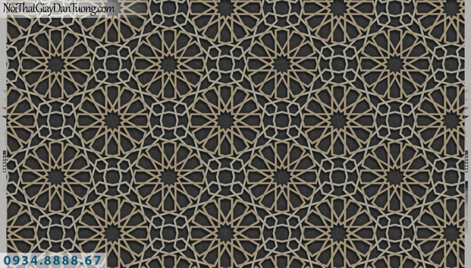 Giấy dán tường PIEDRA, giấy dán tường màu đên 3D, họa tiết hình bánh xe và sợi xách màu vàng 22-036