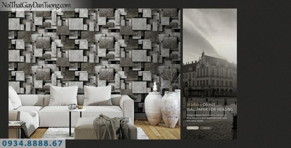 Giấy dán tường PIEDRA, giấy dán tường màu xám 3D, giấy dán tường 3D màu xám, những miếng hình vuông tạo bóng 22-024, màu xám đen