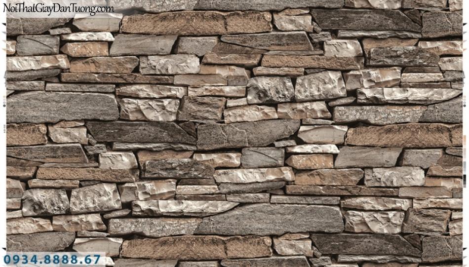 Giấy dán tường PIEDRA, giấy dán tường 3D màu sẫm, màu nâu đỏ, đá miếng mẻ từng viên xếp chồng thành bức tường 22-053