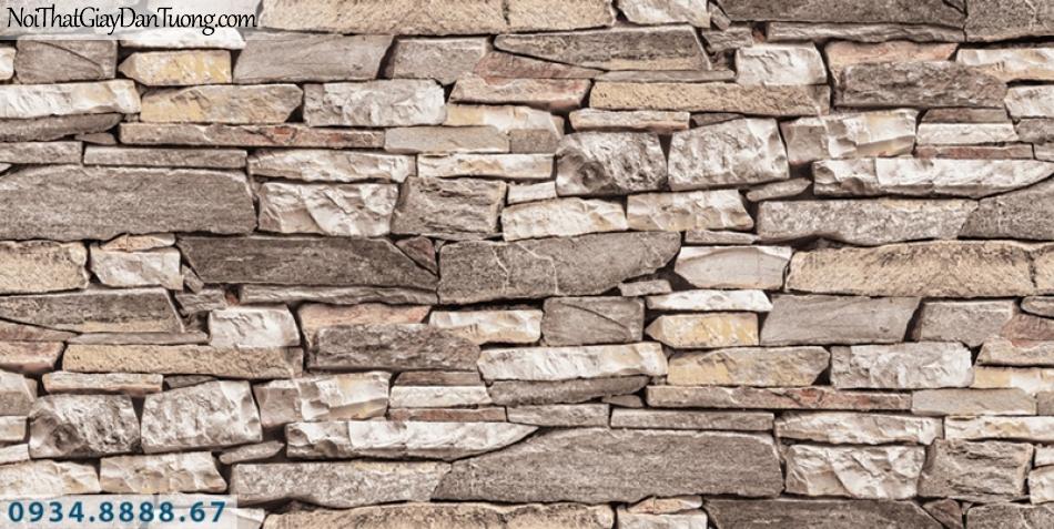Giấy dán tường PIEDRA, giấy dán tường giá đá 3D màu hồng, màu vàng nhạt 22-054