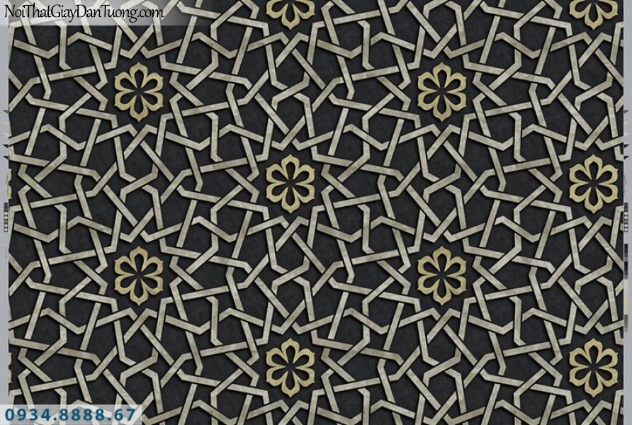 Giấy dán tường PIEDRA, giấy dán tường 3D màu đen, đen điểm vàng 22-061