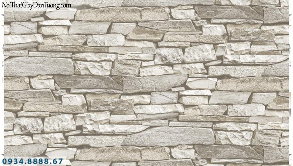 Giấy dán tường PIEDRA, giấy dán tường giả đá 3D màu vàng nhạt, màu kem 22-056