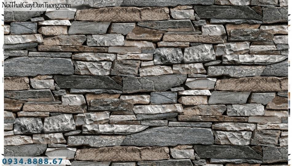 Giấy dán tường PIEDRA, giấy dán tường giả đá 3D màu xám đen, màu đen trắng vàng 22-055