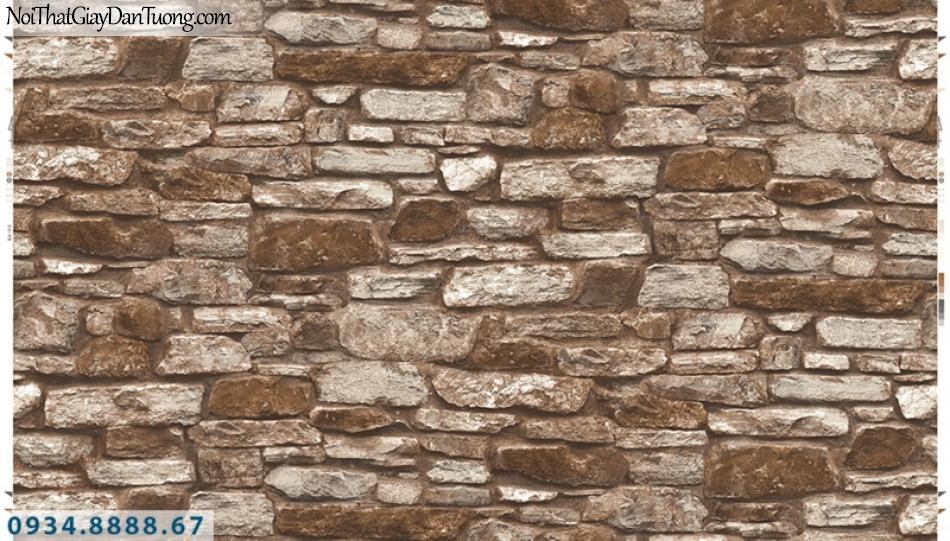 Giấy dán tường PIEDRA, giấy dán tường 3D giả đá màu đỏ 22-103