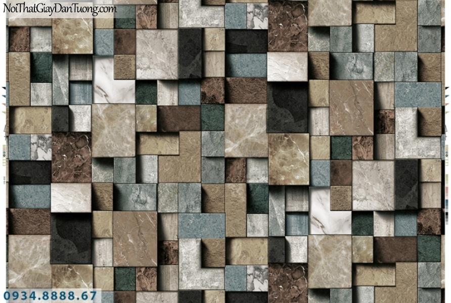 Giấy dán tường PIEDRA, giấy dán tường 3D hình ô vuông nhiều màu, giả gạch hình vuông 3D, giả gỗ miếng vuông 3D 22-091