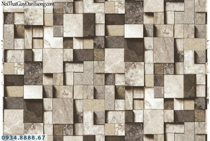 Giấy dán tường PIEDRA, giấy dán tường 3D họa tiết hình ô vuông to nhỏ không đều xếp chồng nhau tạo thành 3D, giả gỗ, giả đá 22-092