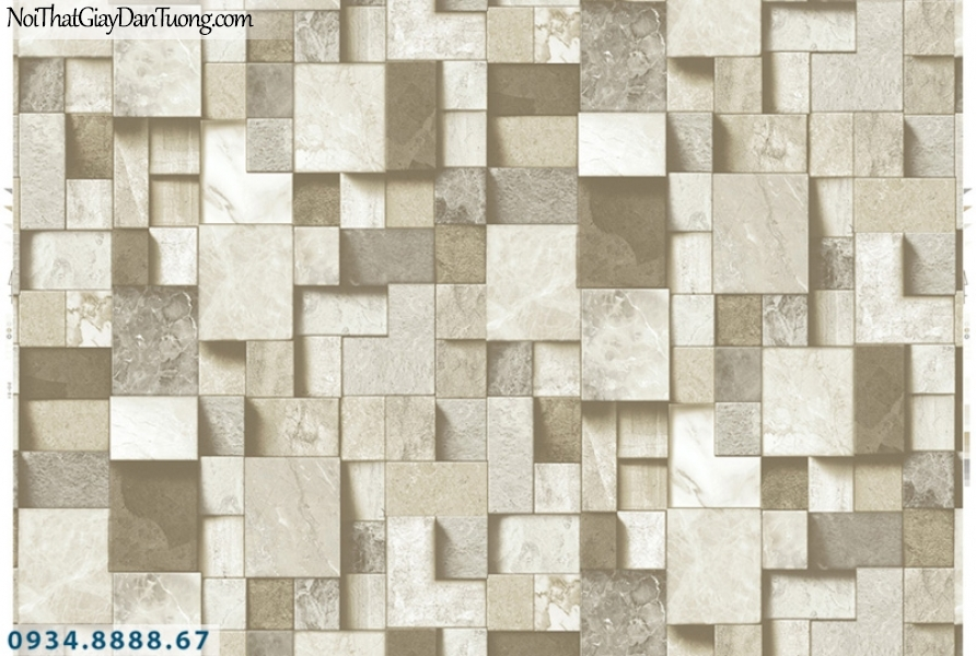 Giấy dán tường PIEDRA, giấy dán tường 3D họa tiết ô vuông to nhỏ lồi lõm màu trắng xám, giả gạch vuông, giả gỗ hình vuông 22-093