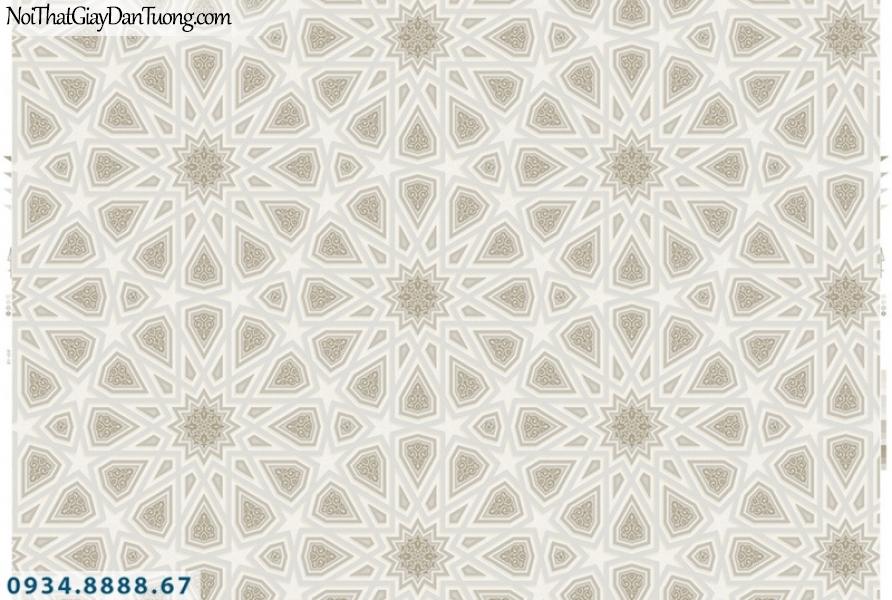 Giấy dán tường PIEDRA, giấy dán tường 3D, hoa văn họa tiết hình tròn bánh xe, màu xám, xám bạc 22-084