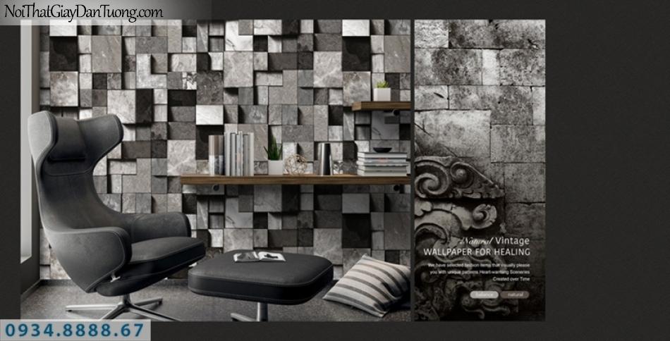 Giấy dán tường PIEDRA, giấy dán tường 3D màu đen, màu xám, giả đá ô vuông, giả gỗ hình vuông 22-096