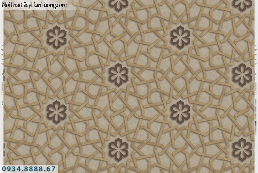 Giấy dán tường PIEDRA, giấy dán tường 3D màu vàng họa tiết màu đen 22-065