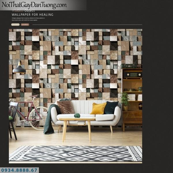 Giấy dán tường PIEDRA, giấy dán tường 3D, những hình vuông to nhỏ xếp chồng lên nhau, xếp lồi lõm tạo thành 3D 22-091