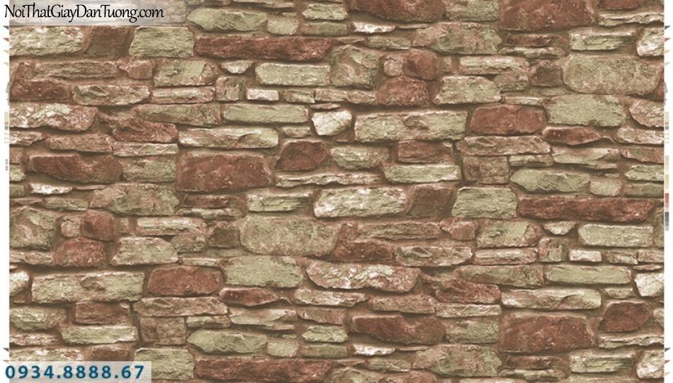 Giấy dán tường PIEDRA, giấy dán tường giả đá 3D màu đỏ 22-102
