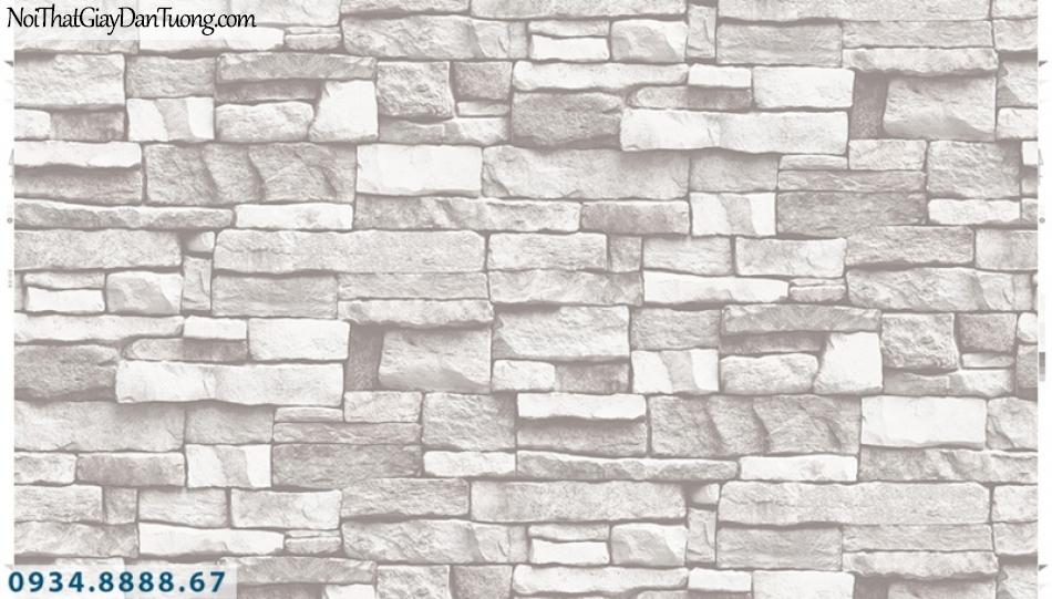 Giấy dán tường PIEDRA, giấy dán tường giả đá 3D màu trắng xám 22-112