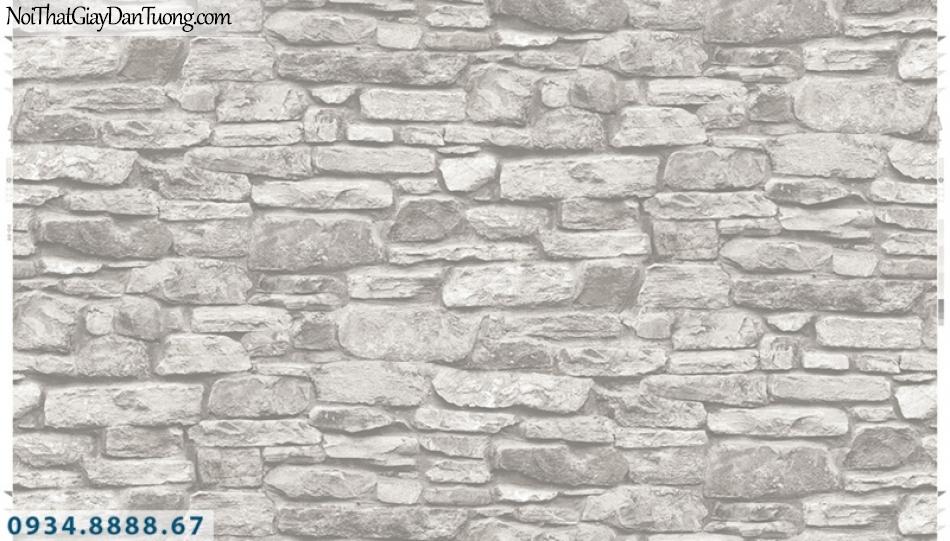 Giấy dán tường PIEDRA, giấy dán tường giả đá 3D màu trắng xám, màu xám trắng nhạt 22-106
