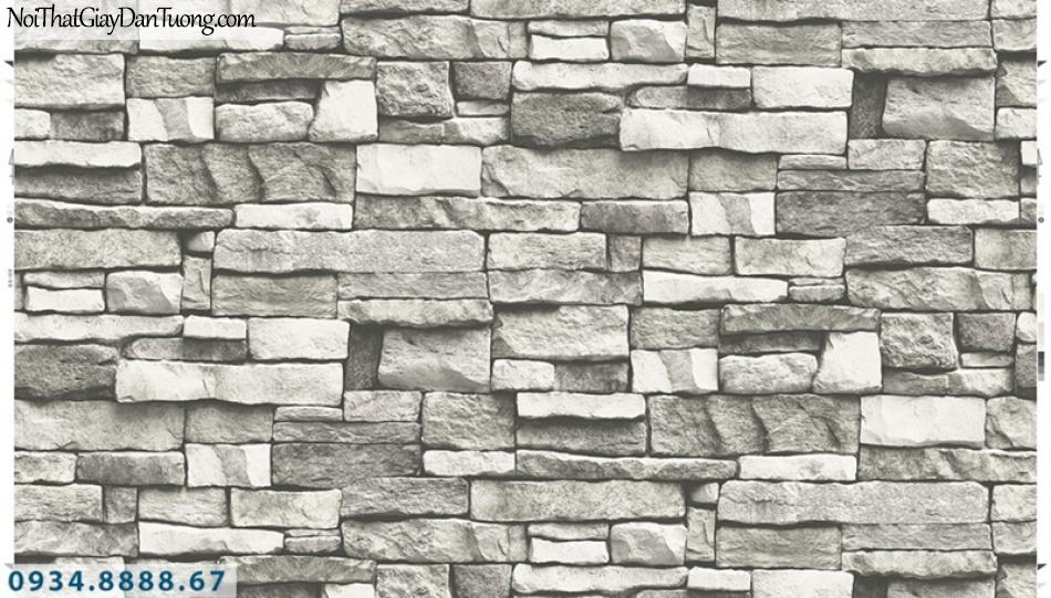 Giấy dán tường PIEDRA, giấy dán tường giả đá 3D màu trắng xám, xám tối 22-114