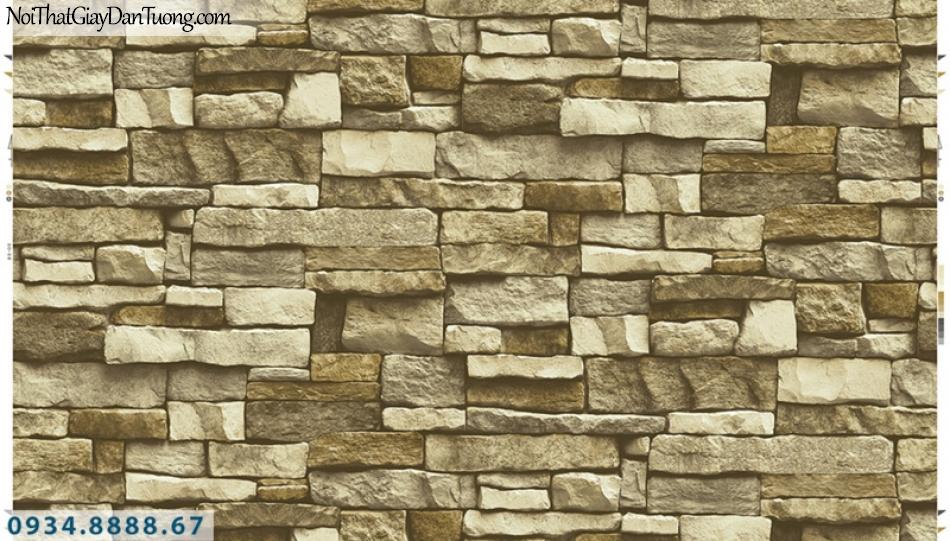 Giấy dán tường PIEDRA, giấy dán tường giả đá 3D màu vàng 22-113