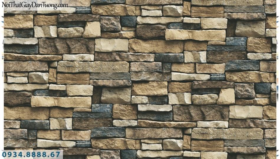 Giấy dán tường PIEDRA, giấy dán tường giả đá 3D màu vàng, điểm xanh than 22-111
