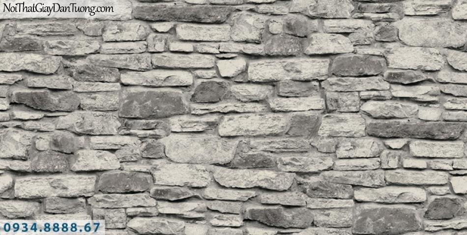 Giấy dán tường PIEDRA, giấy dán tường giả đá 3D màu xám bạc, trắng xám 22-104