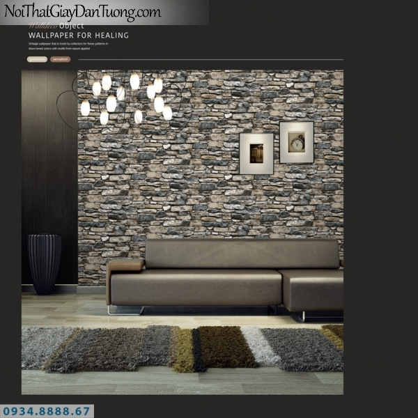 Giấy dán tường PIEDRA, giấy dán tường giả đá 3D, màu xám vàng, xám xanh, những viên đá không đồng đều lồi lõm tạo bức tường 3D 22-101