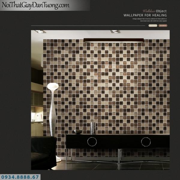 Giấy dán tường PIEDRA, giấy dán tường giả đá ô vông, giả gạch vuông bóng kiếng, giả gương 22-072, màu đen trắng, màu xám