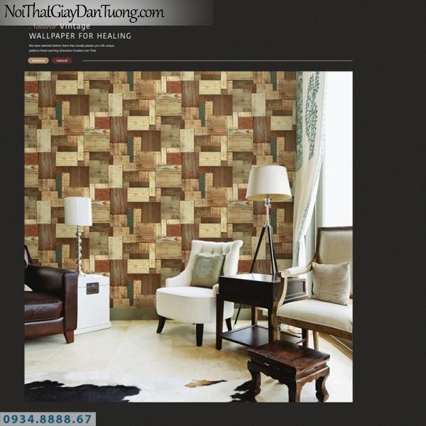 Giấy dán tường PIEDRA, giấy dán tường giả gỗ 3D, ghép nhiều miếng gỗ nhỏ màu vàng 22-131